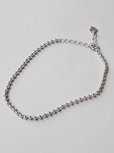 925 Sterling Silver With Platinum Plated Simplistic Beads Bracelets