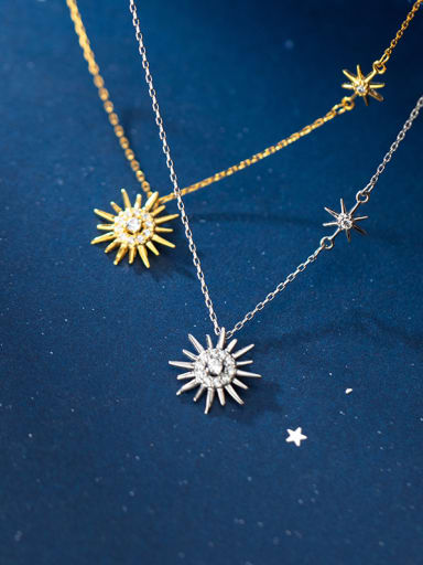 925 Sterling Silver With  Cubic Zirconia Simplistic Sun Flower Necklaces