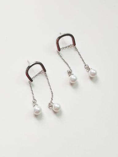 Sterling silver synthetic pearls horseshoe buckle earrings