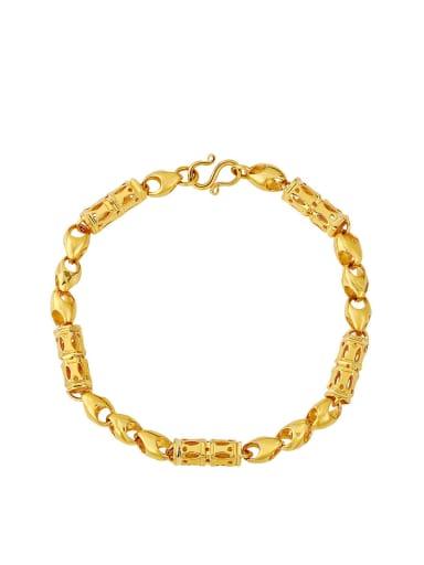 Copper Alloy 24K Gold Plated Ethnic Hollow Women Bracelet