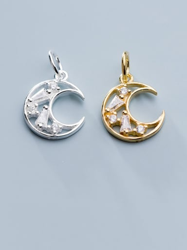 925 Sterling Silver With Cubic Zirconia  Simplistic Moon Charms