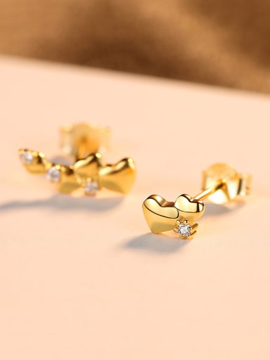 925 Sterling Silver With  Fashion Heart  Stud Earrings