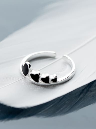 Fresh Open Design Heart Shaped Glue Silver Ring