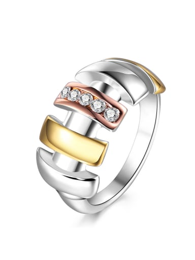 Exaggerated Multi-color Gold Geometric Shaped Ring