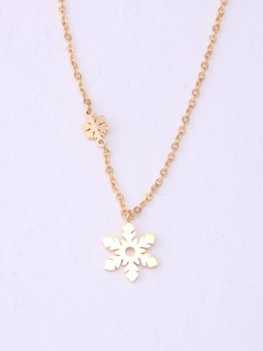 Titanium With Gold Plated Simplistic Snowflake Necklaces