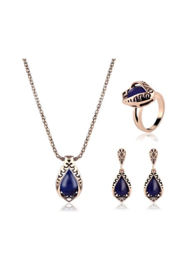 2018 Alloy Antique Gold Plated Fashion Water Drop shaped Artificial Stones Three Pieces Jewelry Set