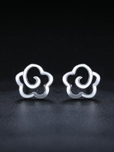 Simple 925 Sterling Silver Hollow Flower Stud Earrings