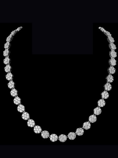 Copper inlaid AAA zircon Flower Necklace