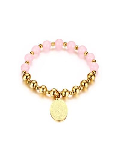 Women Pink Oval Shaped Stone Titanium Bracelet