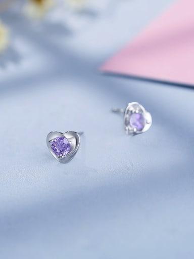 925 Silver Purple Zircon Heart stud Earring