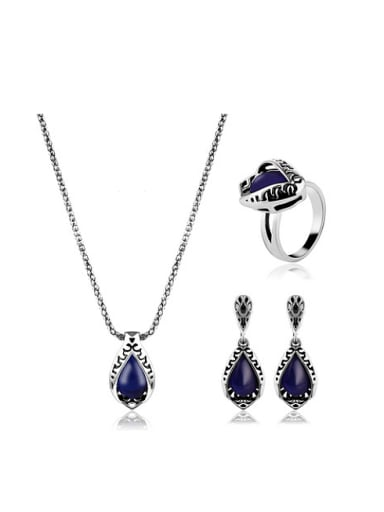 Alloy Antique Silver Plated Vintage style Artificial Stones Water Drop shaped Three Pieces Jewelry Set