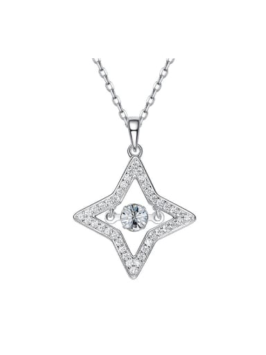 Simple Four-pointed Star Cubic Zircon Necklace