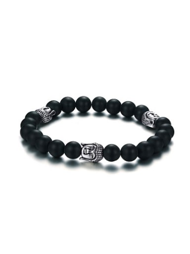 Exquisite Black Carnelian Stone Stainless Steel Bracelet