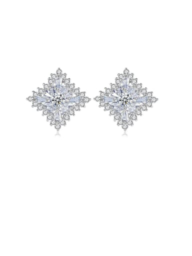 Copper With Platinum Plated Delicate Hollow Square Stud Earrings