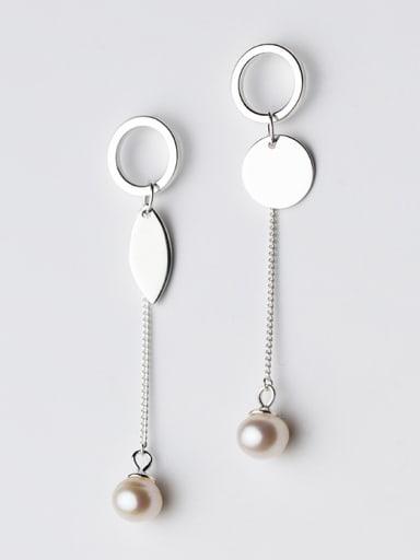 All-match Leaf Shaped Artificial Pearl Asymmetric Pearl Drop Earrings