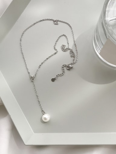Sterling silver slender synthetic pearl necklace