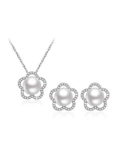 Elegant Artificial Pearl Flower Shaped Two Pieces Jewelry Set
