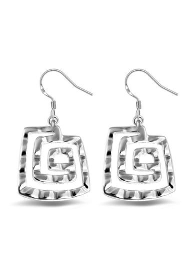Rectangle  Shaped Fashion White Gold Plated Drop Earrings