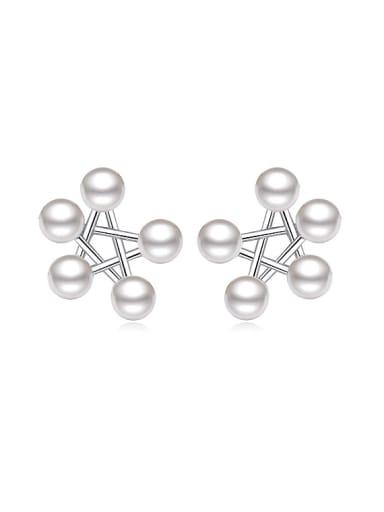 Fashion Imitation Pearls Star Stud Earrings
