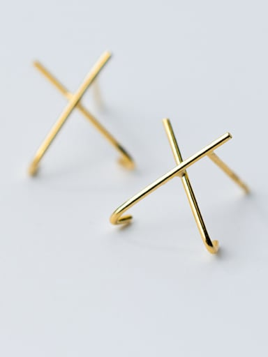 "925 Sterling Silver With 18k Gold Plated Simplistic Monogrammed ""X""Stud Earrings"