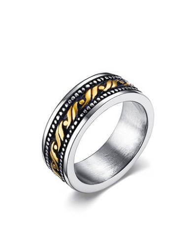 Fashion Double Color Design Geometric Shaped Titanium Ring