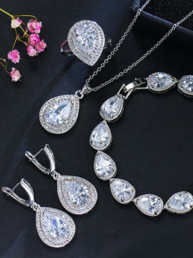 Luxury Shine  AAA Zircon Necklace Earrings Bracelet ring 4 Piece jewelry set