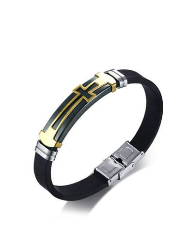 Exquisite Cross Shaped Artificial Leather Silicone Bracelet