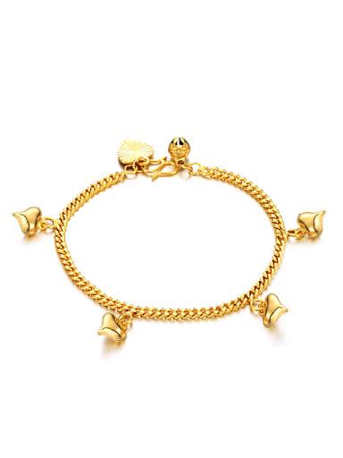 18K Gold Plated Tiny Heart shapes Bell Bracelet