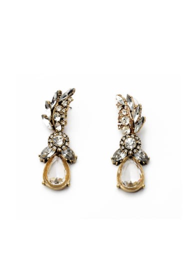 Fashion Luxury Glass Stones Water drop earring