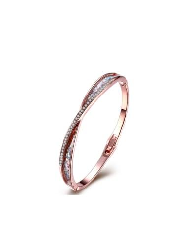 Premium Rose Gold Rhinestone Bangle