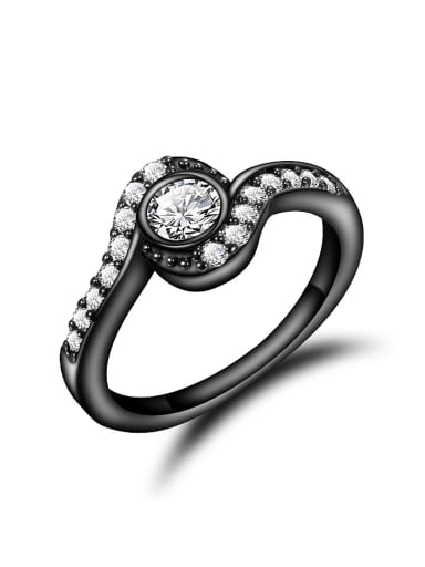 Glittering Black Gun Plated Zircon Copper Ring
