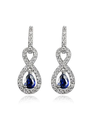 Blue Number Eight Shaped Zircon Drop Earrings