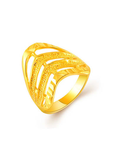 Personality 24K Gold Plated Hollow Geometric Design Copper Ring