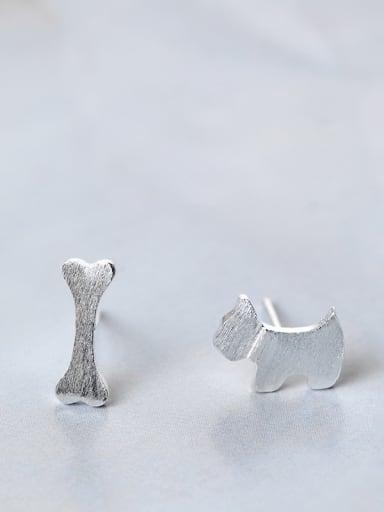 Asymmetrical Simple Tiny Dog Bone 925 Silver Stud Earrings