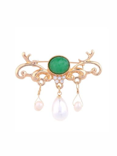 Generous Artificial Pearls Alloy Brooch