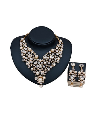 Pearl Glass Rhinestones Two Pieces Jewelry Set