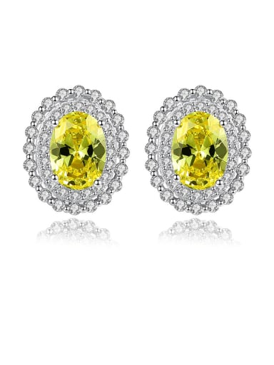 925 Sterling Silver With Cubic Zirconia  Luxury Oval Cluster Earrings