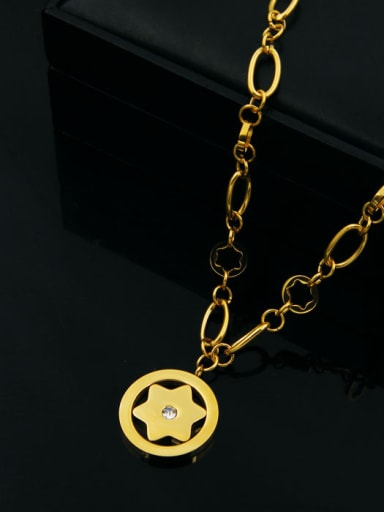 Round Star Pattern Small Pendant Color Plated Necklace
