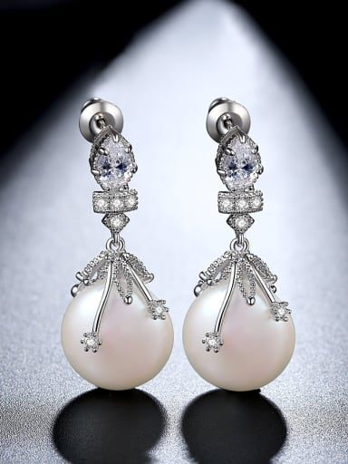 Copper With  Imitation Pearl Trendy Water Drop Party Drop Earrings