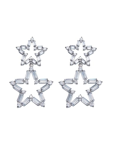 Simple White Zirconias-covered Hollow Star Alloy Stud Earrings