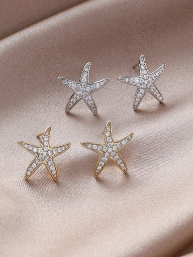 Alloy With Gold Plated Simplistic Star Stud Earrings