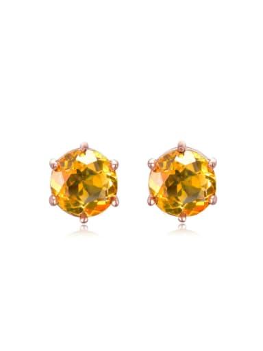Simple Natural Yellow Crystal Stud Earrings