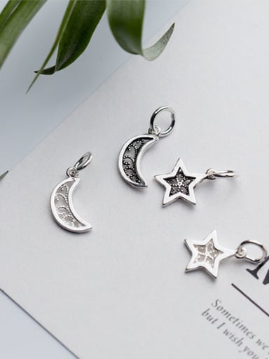 925 Sterling Silver With Antique Silver Plated Trendy Moon star Charms
