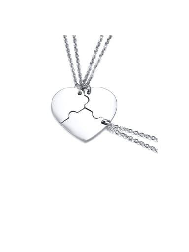 Stainless Steel With Platinum Plated Simplistic  Puzzle Heart-Shaped Multi Strand Necklaces