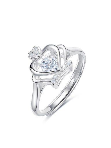 Fashion Crown Cubic Rotational Zircon 925 Silver Ring