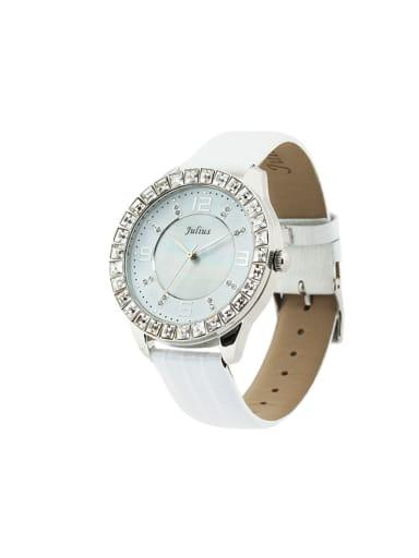 Fashion White Alloy Japanese Quartz Round Genuine Leather Women's Watch 40-43.5mm