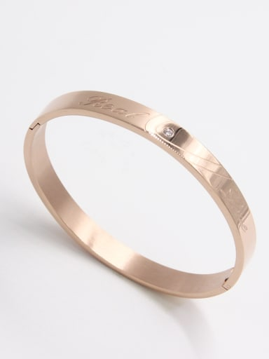 New design Stainless steel  Zircon Bangle in Rose color  63MMX55MM