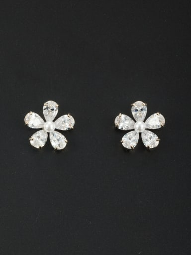 Model No NY41295 Mother's Initial White Studs stud Earring with Flower Zircon
