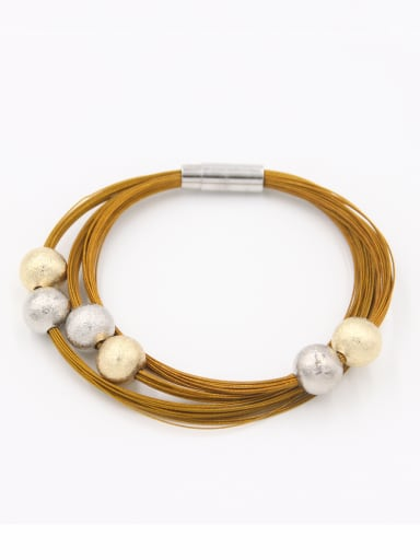 Multi-Color Round Bangle with Mixed Metal