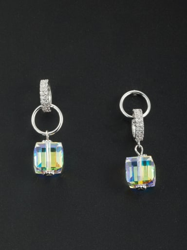 Model No NY41131 The new Platinum Plated Swarovski Crystals Square Drop drop Earring with Silver